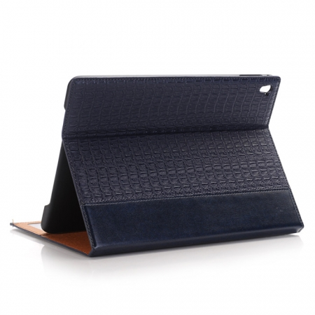 Dark Blue Luxury Crocodile Grain Leather Stand Case Cover for Apple iPad Pro 9.7 Inch