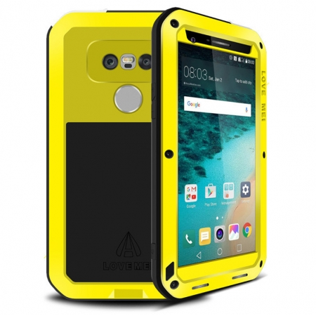 Yellow Shockproof Dustproof Aluminum Metal Tempered Glass Case for LG G5