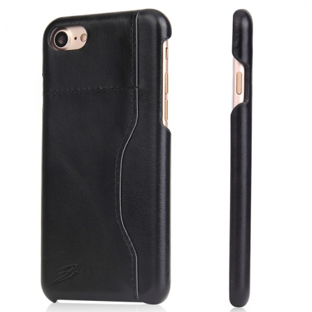 Black 100% Real Genuine Leather Back Cover Case with Card Slots for iPhone 7 4.7 inch