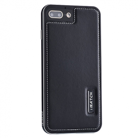 Black Deluxe Genuine Leather Back Metal/Aluminum Frame Case Cover For iPhone 7 4.7 inch