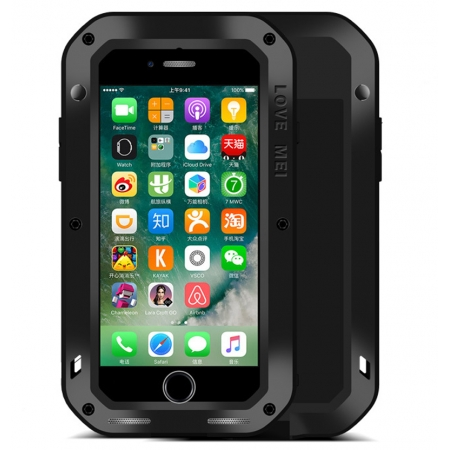 Black Waterproof Shockproof Aluminum Gorilla Glass Metal Case For New iPhone 7