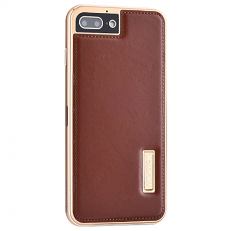 Gold&Brown Deluxe Genuine Leather Back Metal/Aluminum Frame Case Cover For iPhone 7 4.7 inch