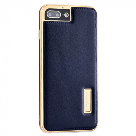 Gold&Dark Blue Deluxe Genuine Leather Back Metal/Aluminum Frame Case Cover For iPhone 7 Plus 5.5 inch