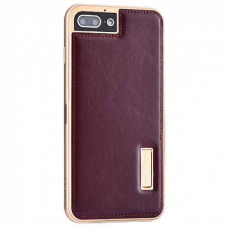 Gold&Wine Red Deluxe Genuine Leather Back Metal/Aluminum Frame Case Cover For iPhone 7 Plus 5.5 inch