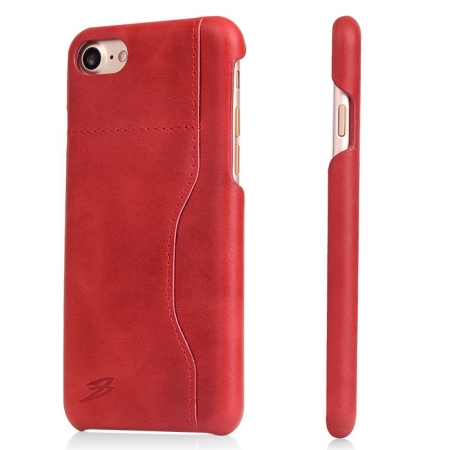Red 100% Real Genuine Leather Back Cover Case with Card Slots for iPhone 7 4.7 inch