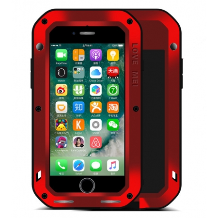 Red Waterproof Shockproof Aluminum Gorilla Glass Metal Case For New iPhone 7 Plus 5.5 inch
