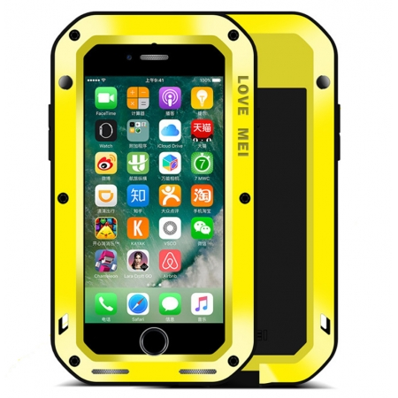 Yellow Waterproof Shockproof Aluminum Gorilla Glass Metal Case For New iPhone 7 Plus 5.5 inch