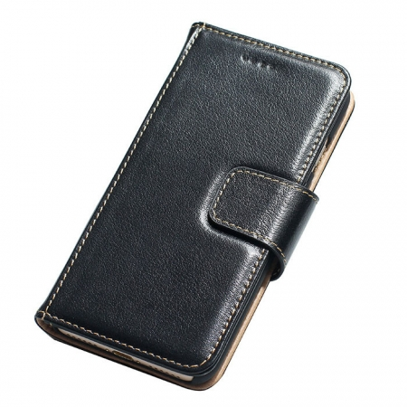 Black 100% Cowhide Leather Wallet Genuine Flip Case For iPhone 7 Plus