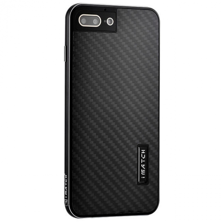 Black Aluminum Metal Carbon fiber Hard Back Cover Case for iPhone 7
