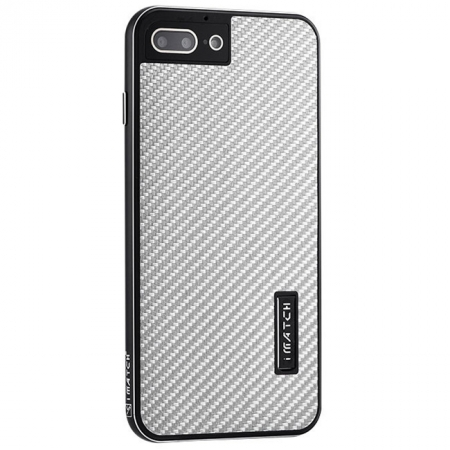 Black&Silver Aluminum Metal Carbon fiber Hard Back Cover Case for iPhone 7