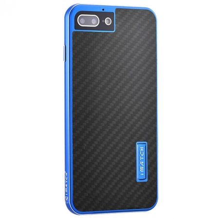 Blue&Black Aluminum Metal Carbon fiber Hard Back Cover Case for iPhone 7