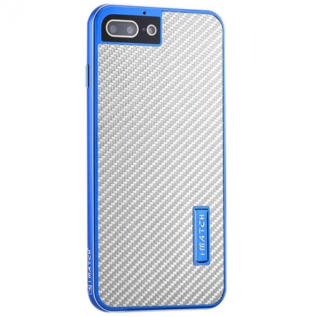 Blue&Silver Aluminum Metal Carbon fiber Hard Back Cover Case for iPhone 7