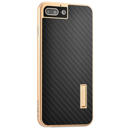 Gold&Black Aluminum Metal Carbon fiber Hard Back Cover Case for iPhone 7