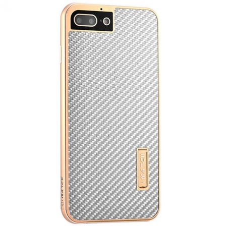 Gold&Silver Aluminum Metal Carbon fiber Hard Back Cover Case for iPhone 7