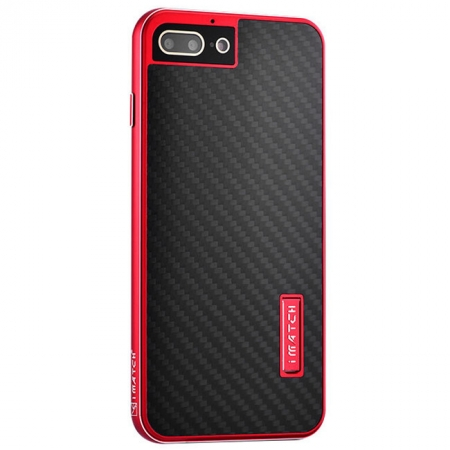 Red&Black Aluminum Metal Carbon fiber Hard Back Cover Case for iPhone 7