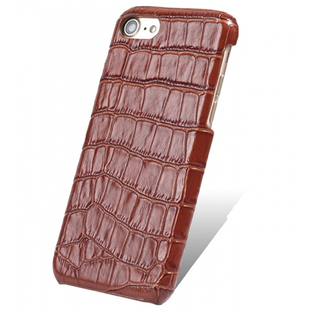Brown Real Leather Crocodile Skin Pattern Protector Back Cover Case For iPhone 7