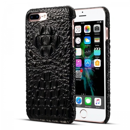 Black Crocodile Genuine Cowhide Leather Back Cover Case For iPhone 7 Plus 5.5 inch