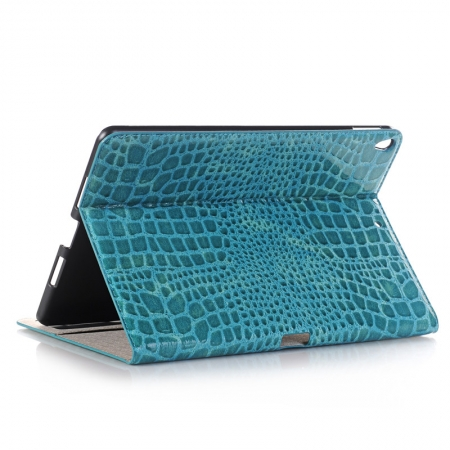 Blue Crocodile Pattern Smart Shell Case Auto Sleep Wake Cover for iPad Pro 10.5 inch