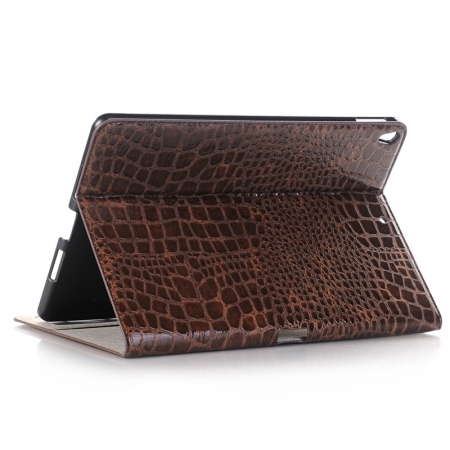 Brown Crocodile Pattern Smart Shell Case Auto Sleep Wake Cover for iPad Pro 10.5 inch