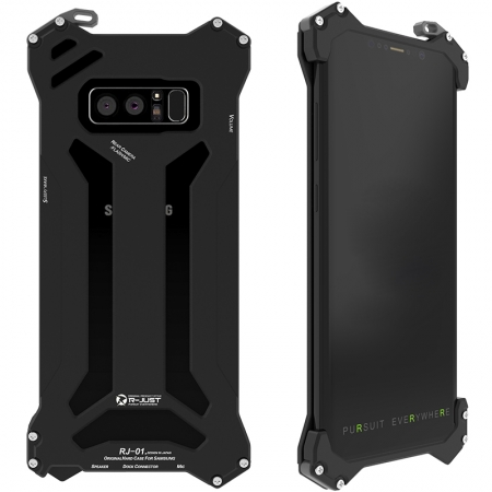 Black R-Just Aluminum Metal Shockproof Case for Samsung Galaxy Note 8