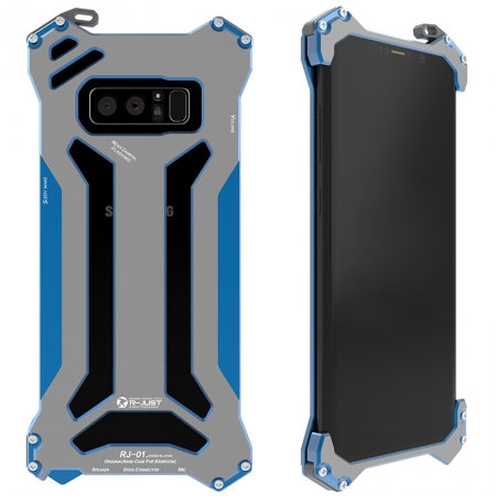 Blue R-Just Aluminum Metal Shockproof Case for Samsung Galaxy Note 8