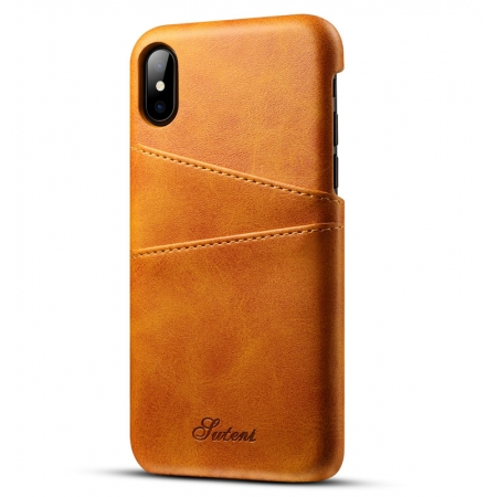 Brown Luxury Leather Card Slots Case Back Cover for iPhone X