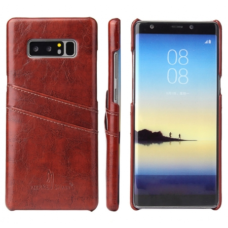 Brown For Samsung Galaxy Note 8 Luxury Oil Wax Card PU Leather Back Hard Case Cover