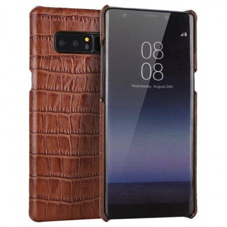 Brown Luxury Genuine Leather Crocodile Back Case Cover For Samsung Galaxy Note 8