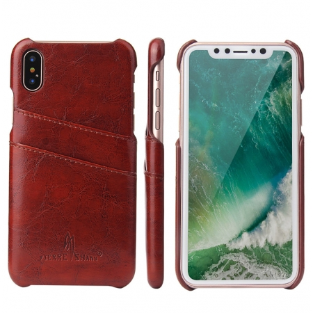 Brown Luxury Oil wax PU Leather Flip Back Cover Card Holder Case For iPhone X