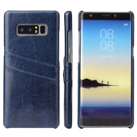 Dark Blue For Samsung Galaxy Note 8 Luxury Oil Wax Card PU Leather Back Hard Case Cover