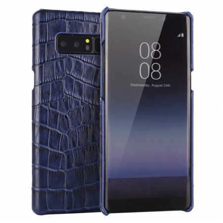 Navy Blue Luxury Genuine Leather Crocodile Back Case Cover For Samsung Galaxy Note 8