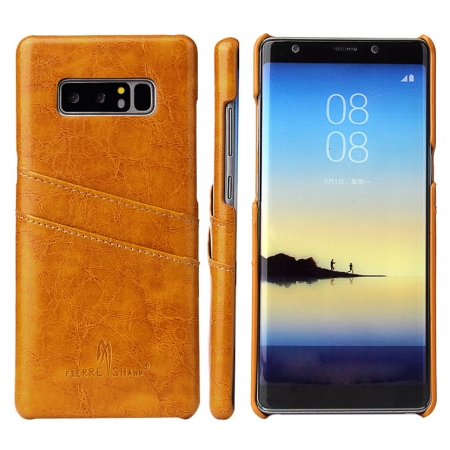 Orange For Samsung Galaxy Note 8 Luxury Oil Wax Card PU Leather Back Hard Case Cover