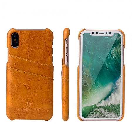 Orange Luxury Oil wax PU Leather Flip Back Cover Card Holder Case For iPhone X