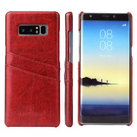 Red For Samsung Galaxy Note 8 Luxury Oil Wax Card PU Leather Back Hard Case Cover