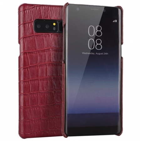 Red Luxury Genuine Leather Crocodile Back Case Cover For Samsung Galaxy Note 8