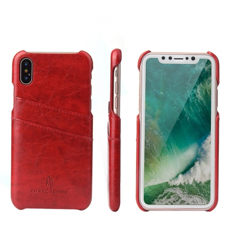 Red Luxury Oil wax PU Leather Flip Back Cover Card Holder Case For iPhone X