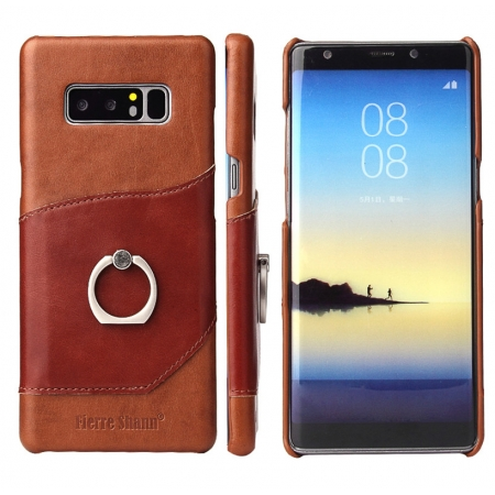 Brown Ring Holder Genuine Leather Case for Samsung Galaxy Note 8
