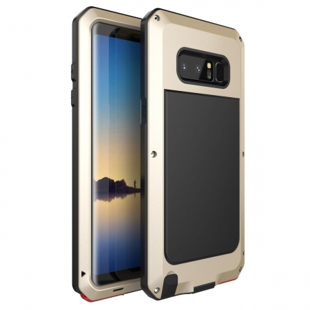 Gold Aluminum Metal Water Resistant Shock Dust proof Case For Samsung Galaxy Note 8