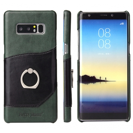 Green Ring Holder Genuine Leather Case for Samsung Galaxy Note 8