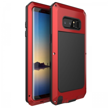 Red Aluminum Metal Water Resistant Shock Dust proof Case For Samsung Galaxy Note 8