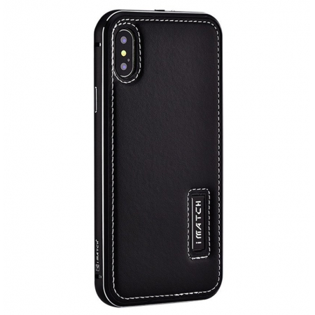 Black Aluminum Metal Genuine Leather Case For iPhone X