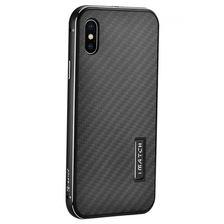Black&Black Metal Aluminum Hard Bumper Carbon Fiber Shockproof Case For iPhone X