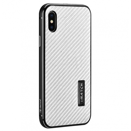 Black&Silver Metal Aluminum Hard Bumper Carbon Fiber Shockproof Case For iPhone X
