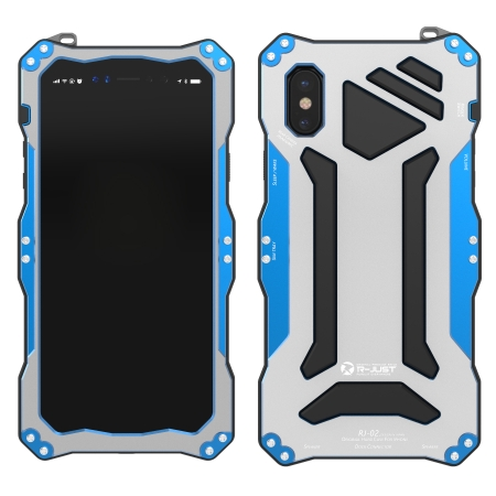 Blue Aluminum Metal Waterproof Shockproof Dust-proof Case for iPhone X