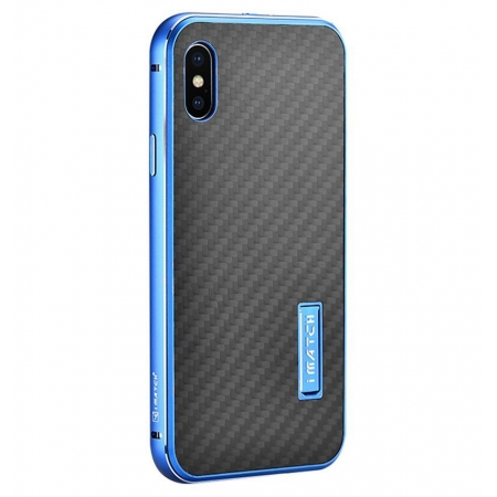 Blue&Black Metal Aluminum Hard Bumper Carbon Fiber Shockproof Case For iPhone X