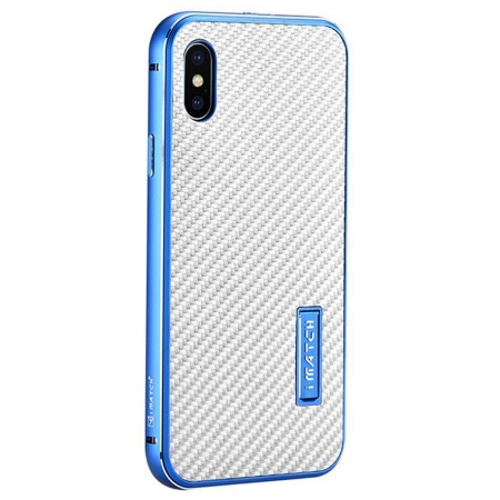 Blue&Silver Metal Aluminum Hard Bumper Carbon Fiber Shockproof Case For iPhone X