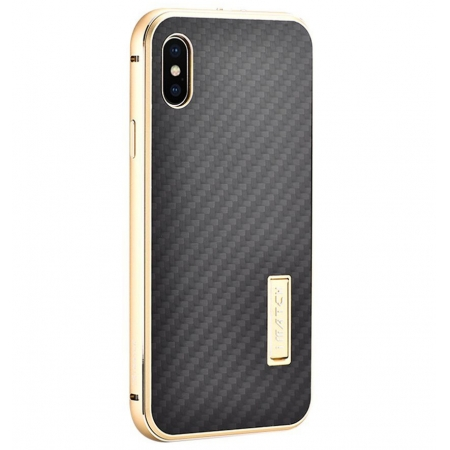 Gold&Black Metal Aluminum Hard Bumper Carbon Fiber Shockproof Case For iPhone X