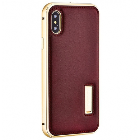 Gold&Brown Aluminum Metal Genuine Leather Case For iPhone X
