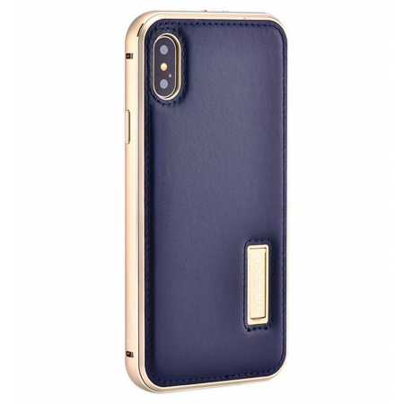 Gold&Dark Blue Aluminum Metal Genuine Leather Case For iPhone X