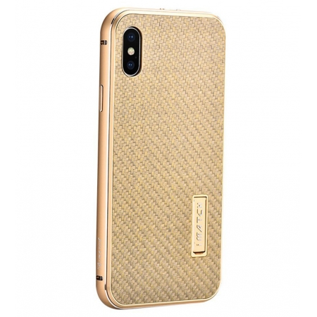 Gold&Gold Metal Aluminum Hard Bumper Carbon Fiber Shockproof Case For iPhone X